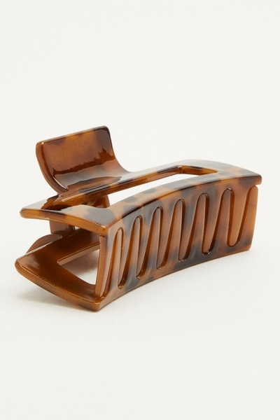 Brown Rectangle Hair Claw