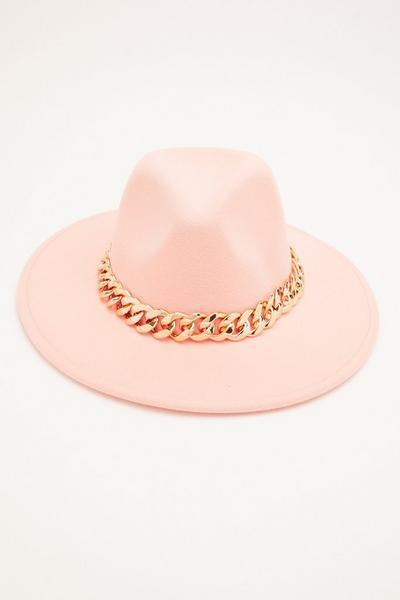 Pink Chain Fedora Hat