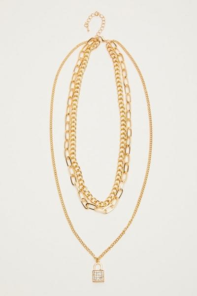 Gold Layered Padlock Necklace