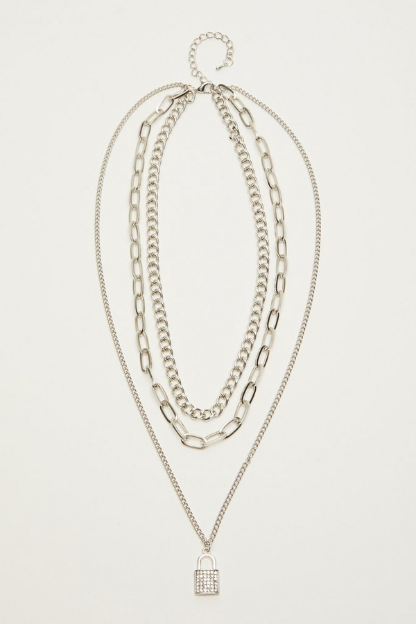 Silver Layered Padlock Necklace