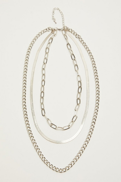 Silver Layered Chain Necklace