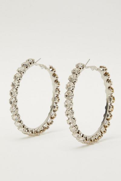 Silver Diamante Hoop Earrings