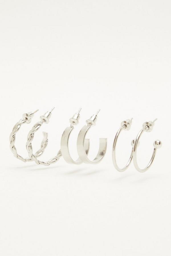 Silver Hoop Earring Set