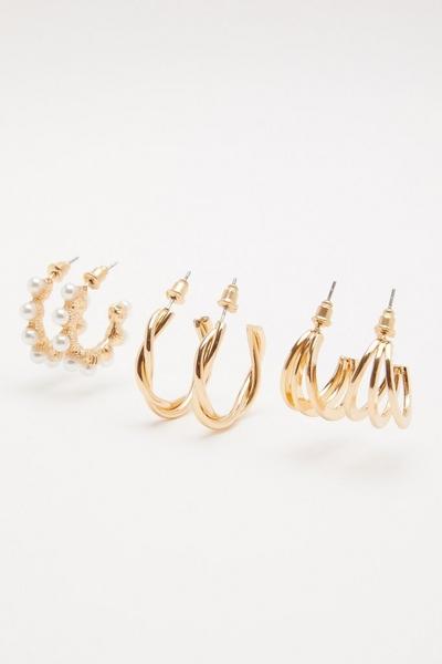 Gold Hoop Earring Set