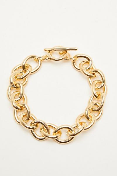 Gold T Bar Chain Bracelet