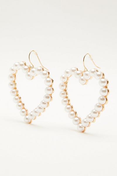 Gold Pearl Heart Drop Earring