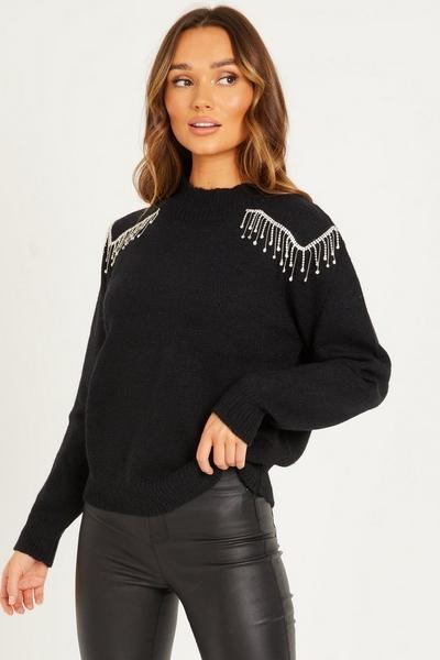 Black Embellished Knitted Jumper