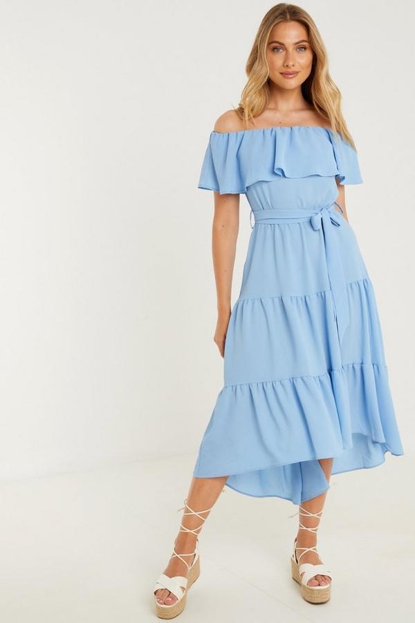 Blue Bardot Dip Hem Midi Dress