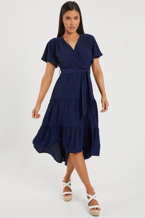 Blue Wrap Dip Hem Dress