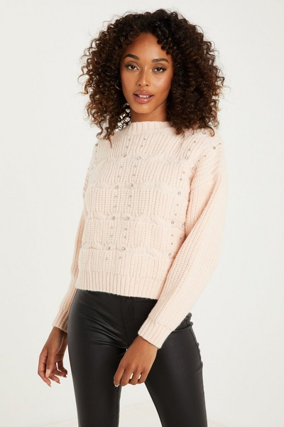 Pale Pink Cable Knit Jumper