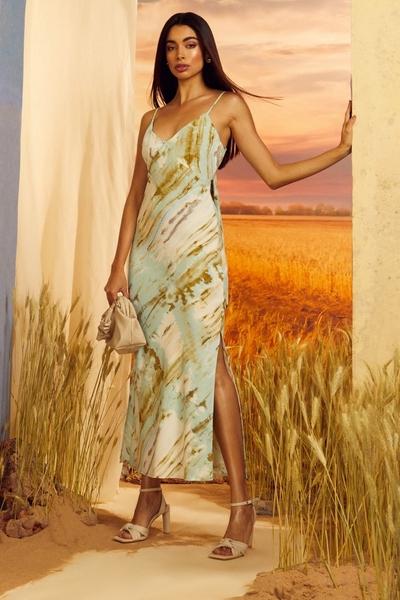 Green Marble Print Tie Back Midaxi Dress