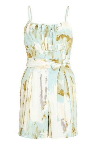 Green Marble Print Strappy Playsuit