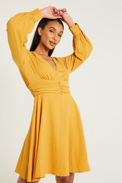 Mustard Ruched Skater Dress