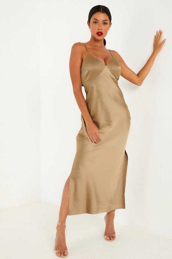 Khaki Satin Tie Back Split Midaxi Dress