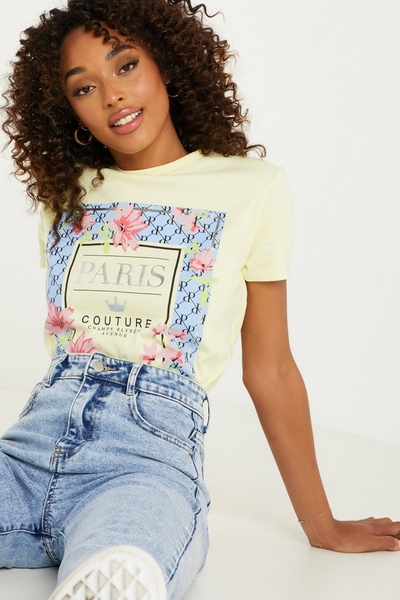 Yellow Floral Print T Shirt