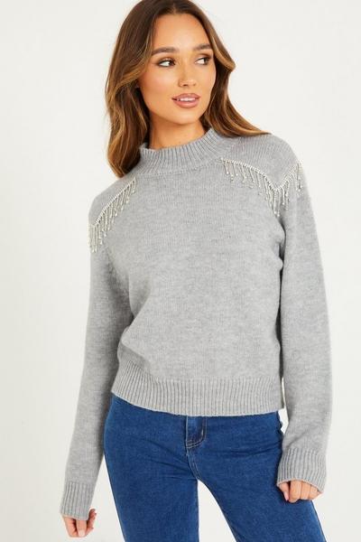 Grey Embellished Knit Jumper
