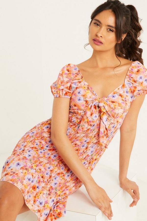 Orange Floral Shirred Bodycon Dress
