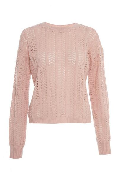 Pink Knitted Long Sleeve Jumper
