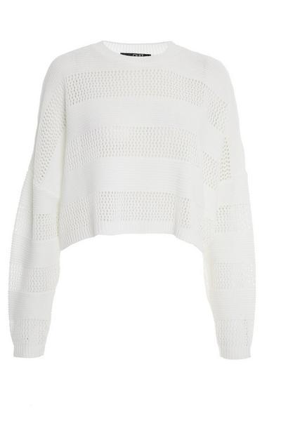 Cream Knitted Long Sleeve Crop Jumper