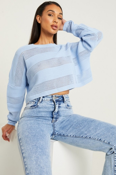 Blue Knitted Long Sleeve Crop Jumper