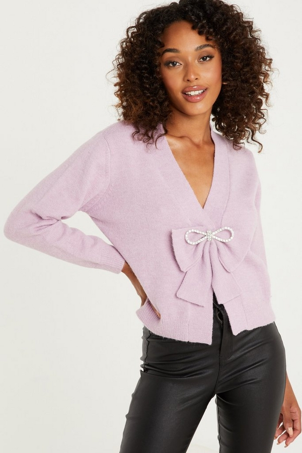 Lilac Bow Detail Knitted Cardigan