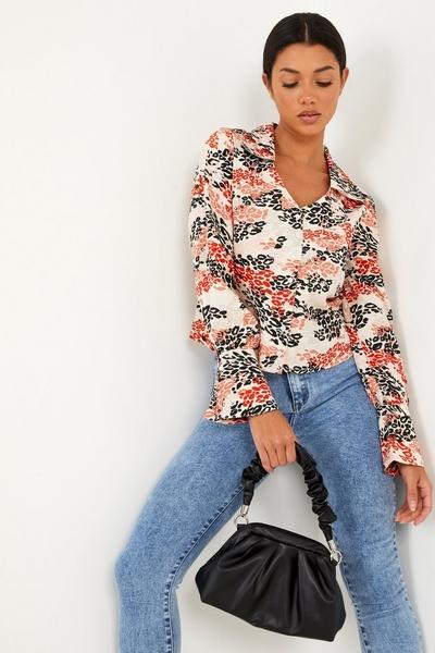 Rust Leopard Print Satin Shirt