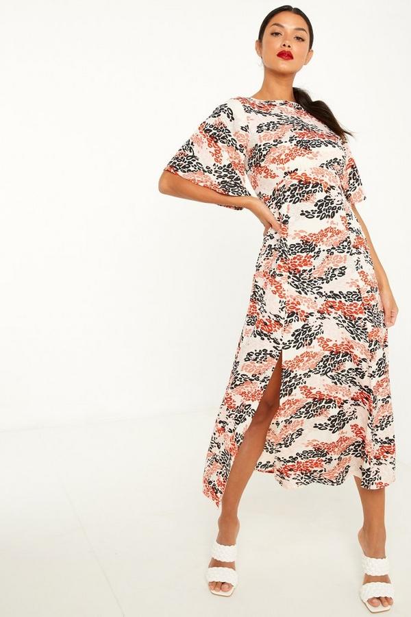 Rust Leopard Print Midi Dress