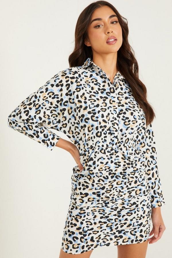 Blue Leopard Print Shirt Dress