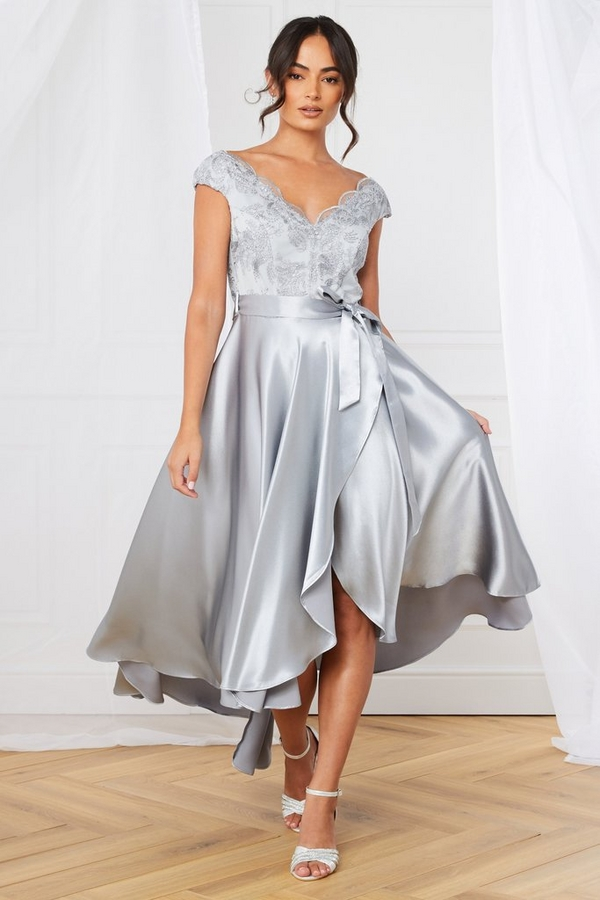 Silver Satin Dip Hem Dress
