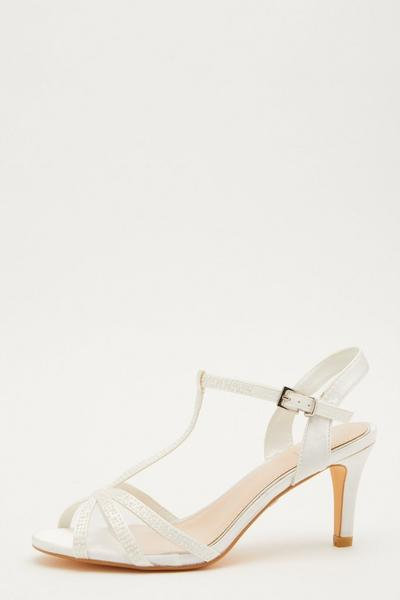 Bridal White Pearl T-Bar Heeled Sandals