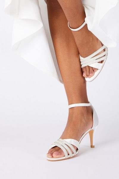 Bridal White Satin Low Heel Sandal