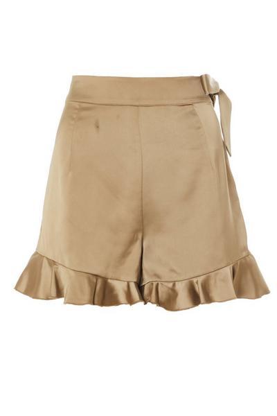 Khaki Satin Frill Shorts