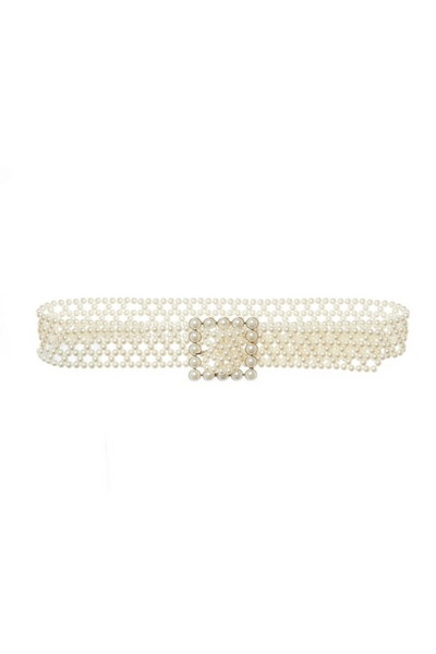 White Square Buckle Pearl Belt