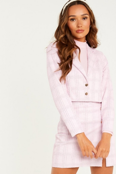Pink Check Cropped Blazer