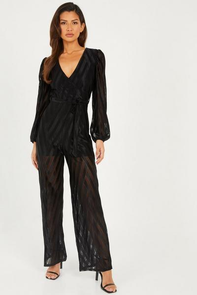 Black Chivron Long Sleeves Wrap Front Palazzo Jumpsuit