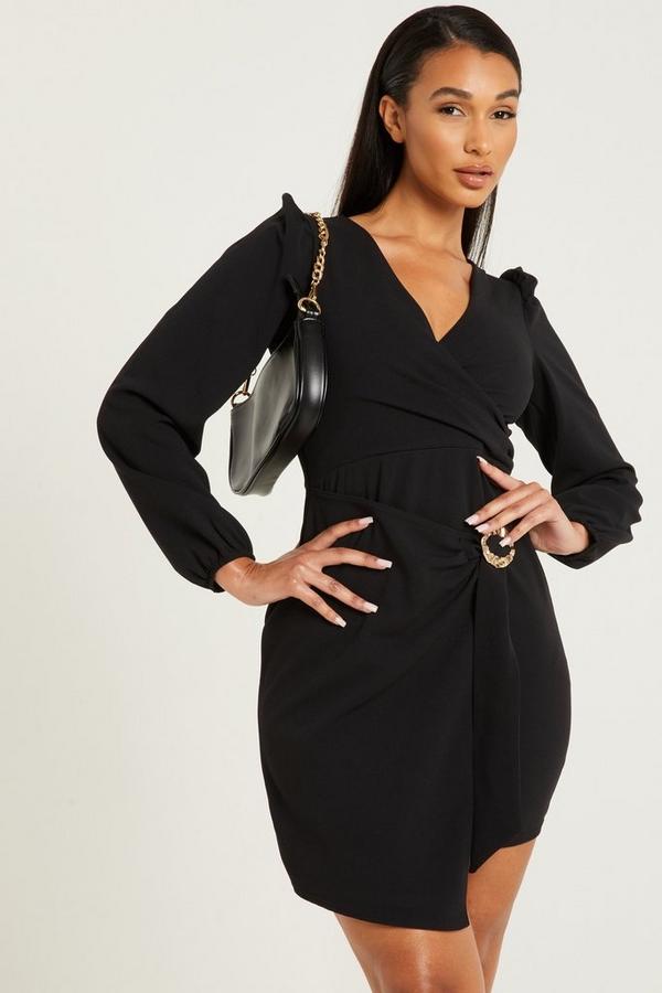 Black Asymmetric Wrap Dress