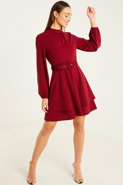 Wine Scuba Crepe High Neck Two Tiered Skater Dress