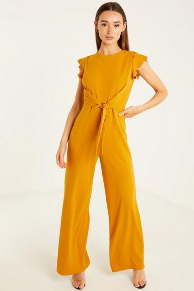 Crop Round Neck Frill Sleeves Tie Front Palazzo Jumpsuit