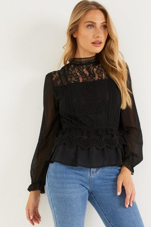 Black Crochet Peplum Top