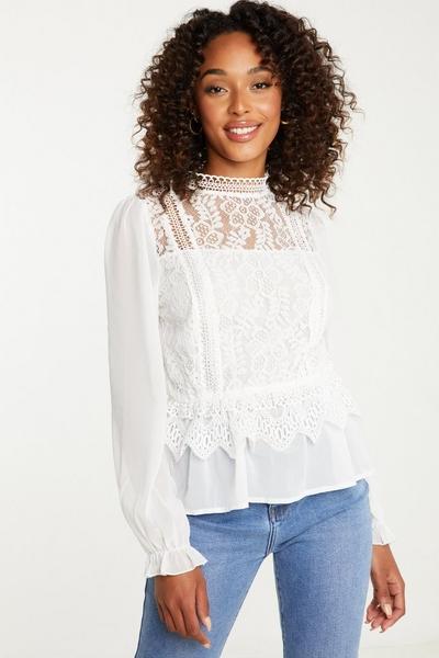 Cream Crochet Peplum Top