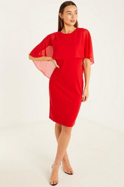 Red Chiffon Cape Bodycon Dress