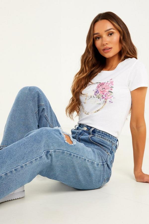 White Floral Slogan T Shirt
