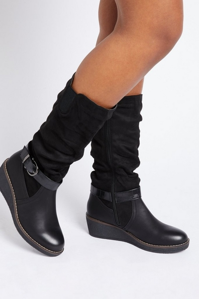Black Ruched Wedge Boot