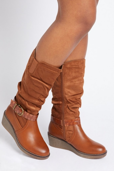 Tan Ruched Wedge Boot