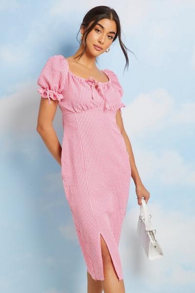 Pink Gingham Puff Sleeve Midi Dress
