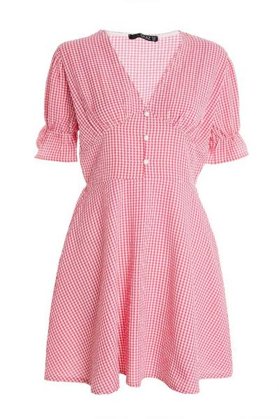 Pink Gingham Puff Sleeve Skater Dress