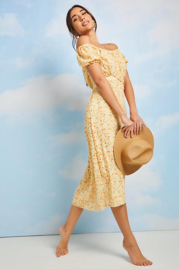 Yellow Smudge Spot Print Bardot Midaxi Dress