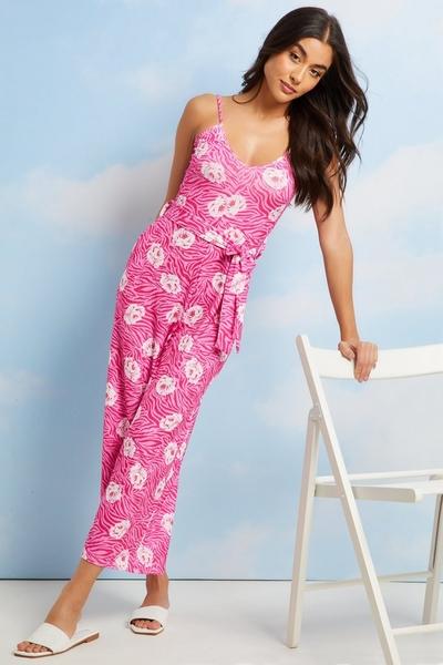 Pink Floral Culotte Jumpsuit