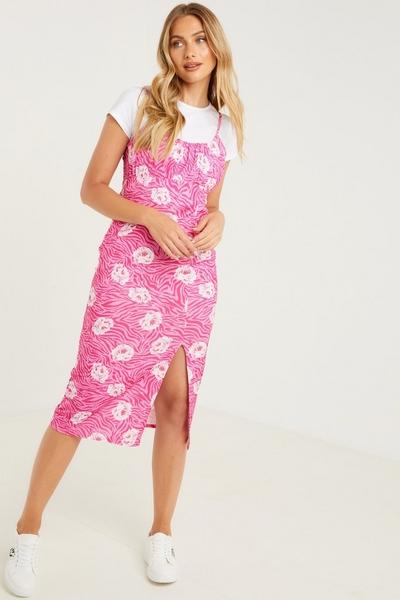 Pink Floral Bodycon Midi Dress