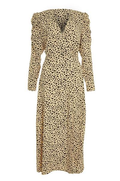 Stone Animal Print Midi Dress
